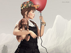 Playful. (~ ds tll) Tags: red cute bunny girl fashion doll avatar balloon sl cap miel birdy alchemy slink catwa itdoll pixicat eaterscoma