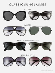 Capsule Wardrobe Pieces That Suit All Body Shapes & Sizes - No.1 Classic sunglasses: Cat eye, Aviator, Wayfarer, Clubmaster, oversized Jackie O style | Not Dressed As Lamb (Not Dressed As Lamb) Tags: classic sunglasses shapes aviators ray ban rayban wayfarers clubmasters oversized cateye