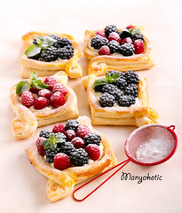 Puff pastry cakes with cream filling (manyakotic) Tags: bake bakery berry blackberry breakfast brunch bun cakes cheese cream dessert filling fruit homemade icing many mix pastry pie powder puff raspberry snack sugar sweet top topping treat view