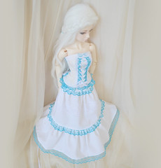 Long white skirt (ceressiass) Tags: blue white ball clothing doll long princess handmade lace turquoise sewing 14 wide skirt clothes fantasy bjd etsy sewn msd pleated jointed layered frilled ceress ceressbjdclothes