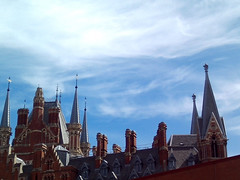 Roof of St Pancras Hotel, London (frayed at the edges - handmade with love) Tags: stpancras london roof architecture polaroidix828