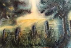 Essais d'aquarelle dans l'humide. 27-17 cm (carine hubeaux) Tags: lumire lever de soleil barrire