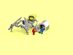 LL 157 Attacus (Harding Co.) Tags: lego space scifi spaceship classic classicspace vehicle freighter blue bluerender digital ldd designer grey yellow black minifigure minifigures transport cockpit wings lights container octan