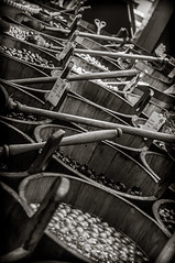 Mike Driscoll 2016 - By The Barrel (Michael Driscoll Jr.) Tags: barrels buckets market olives spoons repetition food rhythm bw ireland