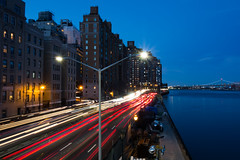 FDR Drive (Rafakoy) Tags: road highway city river fdrdrive eastriver ny nyc manhattan urban cityscape lights colors skyline bridge water night dusk outdoors horizontal digital sony sonyrx100 longexposure tripod speed cars busy rushhour