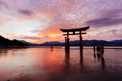 Itsukushima shrine. The floating Torii (Danzorg) Tags: 2016 japan xt10 itsukushima shrine torii miyajima fuji fujifilm samyang 12mm sunset landscape waterscape wide angle clouds golden hour