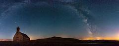 Braspart Panorama (Pierre Coroller) Tags: milky way voie lacte mont saint michel de brasparts bretagne britanny chapelle chapel sky ciel night stars etoiles light astro photo sony a7r landscape nightscape