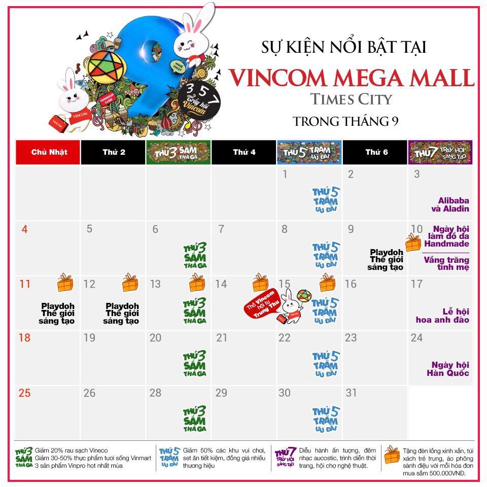 Tháng 9 này, có gì chờ bạn ở Vincom Mega Mall Times City
