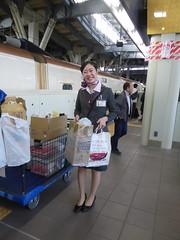 Arrived in Kanazawa (seikinsou) Tags: japan spring omiya kanazawa shinkansen jr railway train travel hakutaka windowseat platform trolley crew