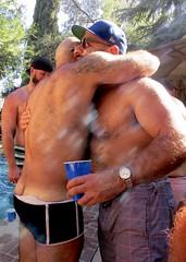 IMG_7891 (danimaniacs) Tags: party shirtless man guy sexy hot bear beard scruff hat cap back bare hairy swimsuit trunks hug tattoo
