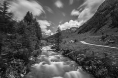 - River In The Wild - (Mr. LookUP) Tags: blackandwithe blackwhite bw nature wildlife landscape unique cloudy clouds river wideangle longtimeexposure longshutterspeed southtirol italy 2016