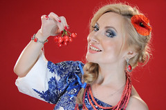 Cherry Lady (Pavlo Kuzyk) Tags: girl woman pretty blonde dress embroidered necklace poppy canon ivanofrankivsk ukraine