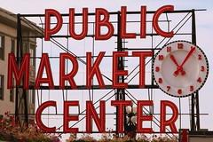 Pike Place (Heather Burditt) Tags: emeraldcity seattle washington pikeplacemarket sign farmersmarket clock