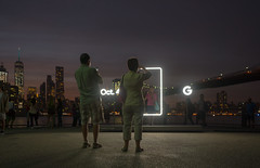 Neon sends us a message (Several seconds) Tags: madebygoogle brooklyn downtownmanhattan nyc sunset