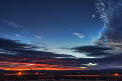 Crescent Moon at Sunrise (inlightful) Tags: sky clouds moon crescentmoon astronomy astrophotography southwest rural newmexico socorrocounty nature outdoors morning dawn sunrise sunset evening