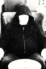 Human or Alien (PhotoJester40) Tags: inside indoors male guy memyselfi bnw blackandwhite faceless posing selfie human alien extraterrestrial