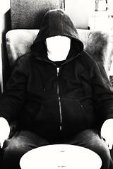 Human or Alien (PhotoJester40) Tags: inside indoors male guy memyselfi bnw blackandwhite faceless posing selfie human alien extraterrestrial
