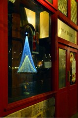 Mars Attacks at Xmas (Jean-Luc Lopoldi) Tags: reflection caf night rouge evening soir nuit faade vitrine arras xmasdecorations
