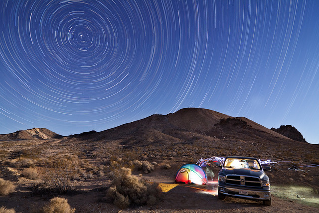 camping camp night stars trails tent dodge ram rhyolite 1500 startrails