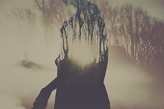 (Maria Louceiro) Tags: trees light woman forest dark exposure double ethereal melancholy