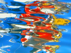 Water Art: Colourful, distorted water reflections (peggyhr) Tags: ocean blue red orange white yellow reflections grey distorted harbour vivid maui lahaina peggyhr colourvisions img3686aa