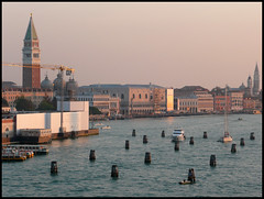 Approach to Venice (Audrey A Jackson) Tags: city venice sea tower history church water sunrise boat scenery crane timber buldings panasonicdmctz3 mygearandme rememberthatmomentlevel1 me2youphotographylevel1