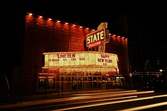 State Theater (karstenphoto) Tags: city light red night marquee photography lights long exposure theater neon state theatre michigan trails traverse lincoln bulbs deco 2013