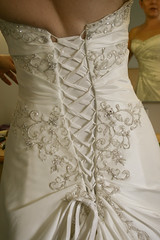 Laced up (SiriusMck) Tags: white beads back dress lace embroidery material cloth weddingdress sequins crease