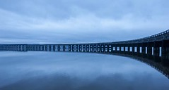 Tay Rail Bridge Dundee - Moody Blue View (Magdalen Green Photography) Tags: reflections scotland riverside rivertay scottish coolblue tayrailbridgedundee iaingordon dundeewestend moodyblueview magdalengreenphotography scotishrailbridges