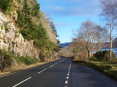Loch Ness-side(A82), Inverness - shire, January 2013 (allanmaciver) Tags: road trees cars scotland highlands rocks empty main january route loch inverness ness twisty hols drumnadrochit a82 2013 allanmaciver