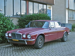 1978 DAIMLER Sovereign Series II 4.2L (ClassicsOnTheStreet) Tags: red rot classic amsterdam rouge rojo classiccar gb 70s oldtimer british streetphoto spotted 1978 1970s rood rosso limousine stork streetview daimler 2012 sovereign redcar bl 42l pkw klassieker 6cylinder seriesii gespot straatfoto carspot storkterrein 6cilinder dg01bp