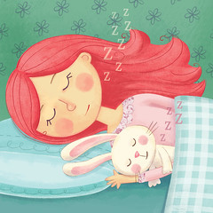 Pg 6: Sleepy time with Bun (julissamora) Tags: bunny girl with easterbunny whimsical childrensillustration kidsillustration