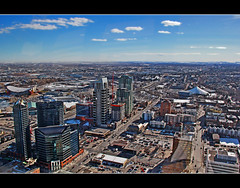 A View Over South West Calgary (LostMyHeadache: Absolutely Free *) Tags: city trees winter sky urban snow southwest calgary clouds canon saddledome cityscape skyscrapers horizon towers vista calgarytower talismancentre davidsmith calgaryalbertacanada eos60d ch2mhillbuilding