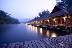 Floating Raft House (Ryan_Newton) Tags: morning house hut raft ropes planks noi riverkwai sainok