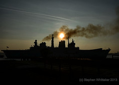 The Leaving Of Liverpool ! (Whitto27) Tags: sun water silhouette river smoke mersey illustrious