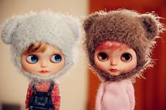 Ice Blue & Grey Brown Fluffy Helmet