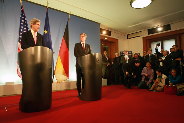 Secretary Kerry speaks to the media with German Foreign Minister Westerwelle at the German Foreign Ministry