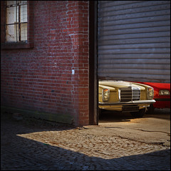 /8 (frischauge) Tags: door slash light shadow red 2 two abstract color detail brick window car wall architecture canon switch mercedes benz beige colorful decay framed surreal 8 minimal cobblestone frame opening tamron eight efs ef abstrakt lookinside strich8 rollingshutter strichacht w114 550d flickrchallengegroup flickrchallengewinner slasheight wshome slash8 wwwfrischaugede wsobject