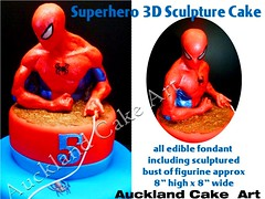 SUPERHERO SPIDEY SCULPTURE (Anita (Auckland Cake Art)) Tags: birthday new wedding newzealand party sculpture baby art cakes cake island stag chocolate spiderman auckland zealand superhero spidey samoa pacifica samoan hens fondant tongan sugarpaste cricut aucklandcakeart