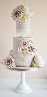 Dusky pink wedding cake by Cotton and Crumbs