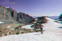 Exploration Above High Lake - Canadian Rockies - 3D (Marc Shandro) Tags: snow mountains nature landscape rockies stereoscopic stereophoto 3d outdoor scenic sunny bluesky anaglyph alpine remote wilderness elevation rugged redcyan
