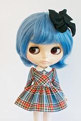 Blue Plaid School Uniform Dress