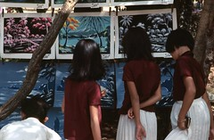 Saigon Dec 1968 - Girls looking at artwork at Saigon Zoo (manhhai) Tags: 1969 1968 saigon brianwickham