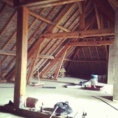 "Three days of dust, fibre glass and breeze block destructing and the roof space is clear. Now to map out the rooms. #hungrycyclistlodge #diy #burgundy • <a style=""font-size:0.8em;"" href=""http://www.flickr.com/photos/30386142@N06/8553326807/"" target=""_blank"">View on Flickr</a>"