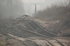Hatfield Colliery Landslip (Derbyshire Harrier) Tags: bridge mist fog spring bend railway landslide hatfield geology buckle distort southyorkshire disruption cuckoolane 2013 stainforth rotationallandslip hatfieldcollierylandslip