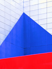 Blue Triangle over Red (camasy) Tags: blue red abstract metal architecture triangle geometry minimal bluetriangle