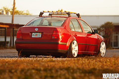 Ryan's Slammed Static Jetta (Jacob Tompkins   Worked Photography) Tags: wood roof sunset red vw volkswagen photography nikon flat florida ryan wheels rack static jetta fl audi rims worked lowered dropped vance slammed stance mkiv fives mk4 d90 antiair fitment stanced