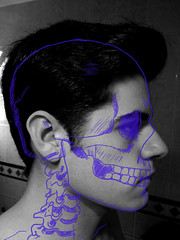 Bones (Zombie Daz) Tags: white black blanco me hair paint negro esqueleto inside draw sombras
