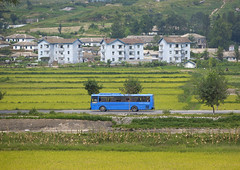 Bus Passing In The Country, Kaesong, North Korea (Eric Lafforgue) Tags: plant bus nature field grass horizontal outdoors photography war asia day publictransportation korea communism forbidden asie agriculture coree domesticlife northkorea humaninterest dprk coreadelnorte colorimage ruralscene kaesong nordkorea 북한 北朝鮮 gaeseong корея coreadelnord 조선민주주의인민공화국 северная insidenorthkorea 朝鮮民主主義人民共和国 rpdc βόρεια haeso coreiadonorte เกาหลีเหนือ eti2997