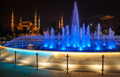 Sultan Ahmed (Blue) Mosque & Fountain at night (simononly) Tags: city blue night canon turkey march asia europe long exposure islam istanbul mosque ottoman turkish constantinople sultanahmed 2013 450d